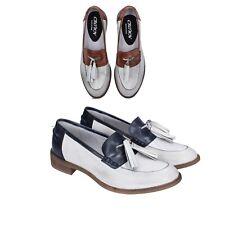 CROWN scarpe donna mocassini pelle bianco marrone blu
