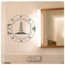 Leuchtturm Wandtattoo Wandaufkleber Maritim Bad WC Badezimmer Bullauge W230