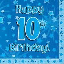 Joyeux 10th Fête d'anniversaire SERVIETTE ETOILE BLEUE 33cm Papier célébration