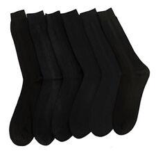 1 6 12 24 Pairs Men BLACK Ribbed Crew Dress Socks 100% Ribbed Lot 10-13
