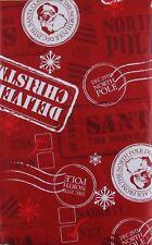 Santa's North Pole Postage Vinyl Flannel Back Tablecloth Various Sizes
