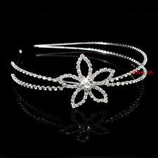 Elegant Flower Bridal Bridesmaid Prom Party Crystal SIDE Tiara Headband