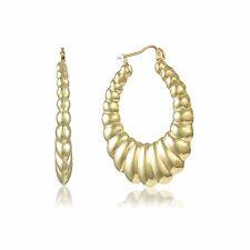 10K Yellow Gold Scalloped Hoop Earrings - Oval Shrimp Hollow Door Knocker Women