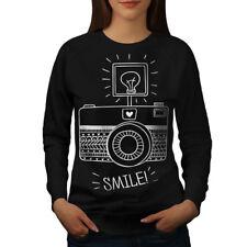 Wellcoda Camera Smile Photo Womens Sweatshirt, Technology Casual Pullover Jumper