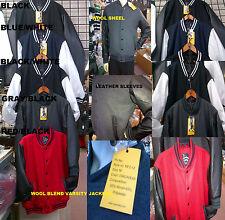 Blue White Wool Varsity Jacket Wool Leather Long Sleeve Letterman Jacket Coat