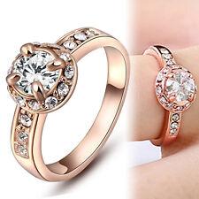 18K ROSE GOLD GF 1CT Round SOLITAIRE SIMULATED DIAMOND ANNIVERSARY WEDDING RING