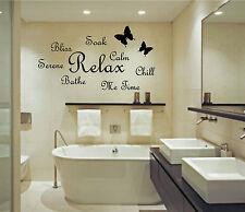 Soak Relax Bathe Wall Art Sticker Quote Bathroom Bubbles Toilet Splish Splash