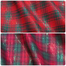 Lurex tessuto di cotone NATALE TARTAN (al metro) - 2 modi colore