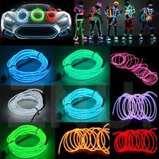 Glow LED Light El Wire String Strip Rope Car Dance Party + DC 12V Inverter Power