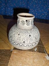 Interesting Pottery Clay Vase Potpourri   ? Ileram de Olle Granna  4 Inch High
