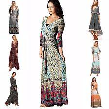 Bohemian Vintage RAYON Wrap Maxi Dress| Ethnic Print |+LARGE SIZE | 2 day ship