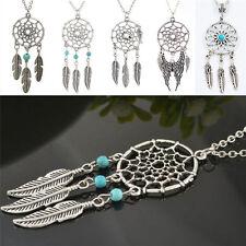 Women Chic Dream Catcher Feather Pendant Necklace Pretty Retro Chain Necklace FT