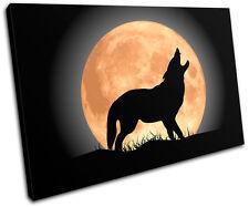 Wolf Moon Wild Animals SINGLE TOILE murale ART Photo Print