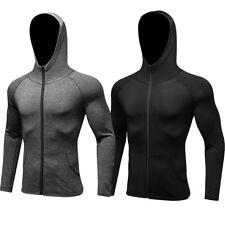 Men's Athletic Apparel T Shirts Long Sleeve Gym Running Cycling Zipper Hoodies