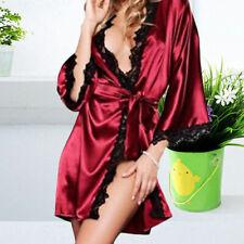 Satén Mujer Pijama Sexy Lencería SEDA ENCAJE Bata Vestido Camisón Camisón GB