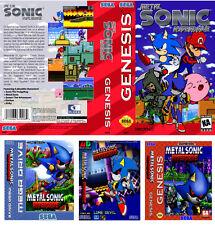 Metal Sonic Hyperdrive Sega Megadrive Mangas de arte de la caja de sustitución insert case