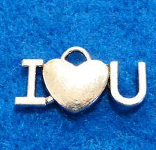 "10Pcs. Tibetan Silver ""I Heart You"" LOVE Charms Pendants Drops Findings H51"
