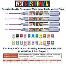 Zig Posterman Medium 2mm Chalk Marker Pen Pens Waterproof Whiteboard Glass Metal