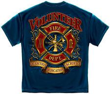 Erazor Bits Mens Graphic Apparel T-Shirt VOLUNTEER FIREFIGHTER Blue