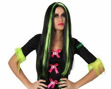 Perruque de Cheveux Noir Long Sorcière Halloween OZ Eastwick