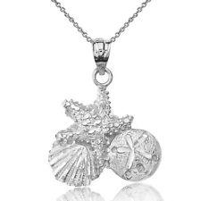 .925 Sterling Silver Diamond Cut Starfish, Clam & Sand Dollar Pendant Necklace