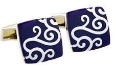 Elegant & Beautiful Hard wearing Silver & Blue Enamel links by CUFFLINKS DIRECT