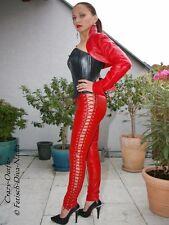 Lederhose Leder Hose Rot Seitenschnürung Größe 32 - 58 XS - XXXL