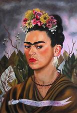 Frida Kahlo painting Self-portrait dedicated canvas print giclee 8X12&12X17