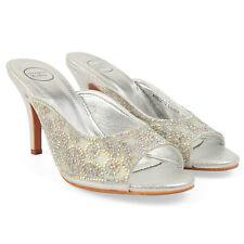 New Women's Slip On Sandals With Diamante Details Slim Mid Heel Weddings Prom