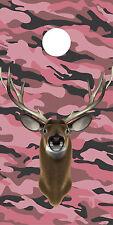 Pink Camouflage Deer Buck hunting girl Cornhole board game decal wraps