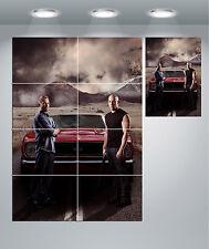 Furious 7 Paul Walker Vin Diesel Muscle Car Giant Wall Art poster Print
