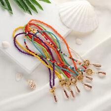 Boho Jewelry Colorful Beads Choker Shell Pendant Turquoise Chain Bib Necklace