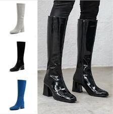 British Women Mid Calf Knee High Riding Block Heel Patent Leather Winter Booties