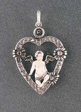 925er Argento Ciondolo a forma di cuore Putto con Pietre Swarovski 9901027