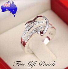 Crystal Love Heart Silver Ring Women's Girlfriend Jewellery + FREE Gift Pouch