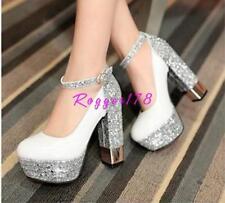 Womens Sequins Party Wedding Platform High Block Heels Ankle Strap Shoes pumps