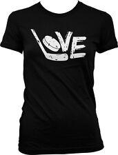 Love Hockey Fan Stick Puck Goal Ice Rink Street Sports Athlete Juniors T-shirt