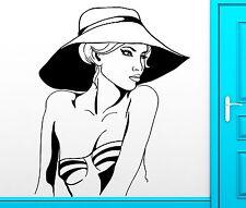 Wall Sticker Vinyl Decal Sexy Beautiful Girl Bikini Hat Cool Decor (z2462)
