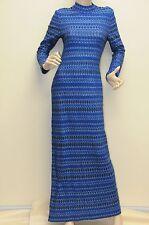 $1875 ST. JOHN GOWN Maxi CRYSTALS Sapphire Blue Open Back Long Sleeve Dress 4