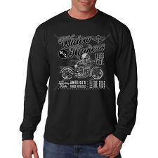 Widow Makers Americas Motorcycle Skull Chopper Biker Long Sleeve T-Shirt