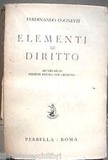 ELEMENTI DI DIRITTO Ferdinando Cognetti Perrella 1954 Giuridica Giurisprudenza