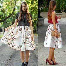 Fashion Flower Printed High Waist Full Pleated Vintage Midi Women Summer Skirts