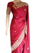 Party Wear Bollywood Traditional Or Rouge gaji Silk Bandhani Bridal Saree vente