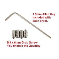 Grub Screws - Stainless Steel M3 x 6mm Cone Point Grub Screw Door Handle Tap