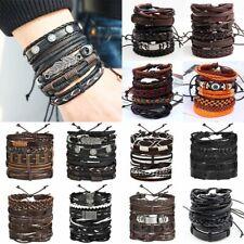 6pcs/set Multilayer Leather Leaf Owl Bracelet Men Women Wristband Bangle Cuff