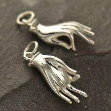 925 Sterling Silver Hand Gyana Mudra Charm Hindu Buddhist Pendant Necklace 605