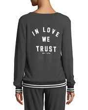 Spiritual Gangster womens pullover sweatshirt in love we trust v neck new gray