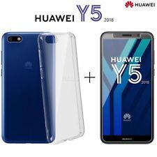COVER per Huawei Y5 2018 CUSTODIA in TPU + PELLICOLA VETRO TEMPERATO