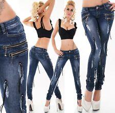 Damen Hüft Jeans Hose Röhrenjeans Skinny Faden Nieten dunkelblau Zip ORIGINAL