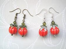 CERAMIC ORANGE PUMPKIN Bead Drop Earrings Silver Plated Bronze Autumn Halloween